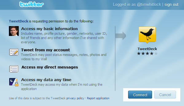 Twitter extended OAuth permissions